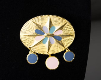 Amazing Pastel and Gold Tone Vintage Brooch - Vintage Jewelry - 80s Art Deco Revival - Star Brooch - 80s Jewelry - 80s Brooch - Accessories