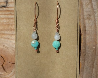 Turquoise and aquamarine copper earrings