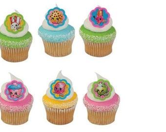 Shopkins cupcake rings (24) party favor cake topper 2 dozen