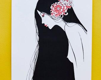 Girl With Peony - Limited Silkscreen Art Print