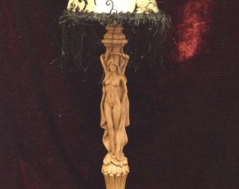Table lamp made of natural wood