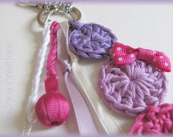 Pretty Keychain pink and purple knitted hand crochet pure cotton Pompom node and Ribbon