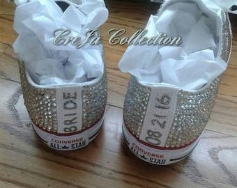 Wedding Converse, Bridal Converse, Personalized Converse, Personalized Shoes, Wedding Sneakers, Crystal Converse, Rhinestone Converse, Pearl