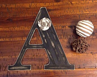 Distressed wooden letter | letter A | wooden letter | letter with burlap