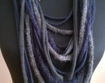 Scarf necklace, dark blue and grey with wool item
