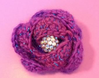 Pink glitter crochet flower brooch