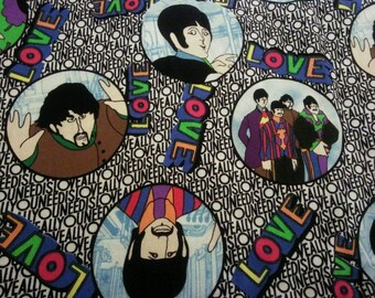 The Beatles, John Paul George Ringo, All You Need Is Love, Cotton Quilting Fabric, By the Half Yard, BTHY, Beatles Fabric, Love Fabric