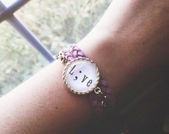 Faux suede braided double wrap bracelet