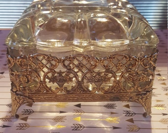 Antique Glass Jewelry Box