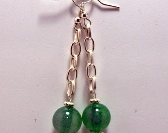 Green balls earrings