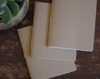 Three Handmade Pocket Journals (5x4 in + 40 pages each)
