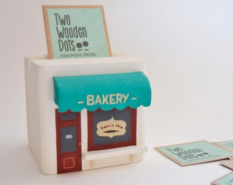 Personalised Business Desk Card Holder with custom name Wooden card holder local shop stand with personalised name Bakery card holder