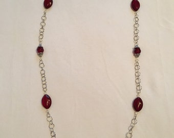Sparkly red acrylic beaded necklace