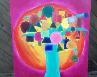 Abstract tree, acrylic on canvas