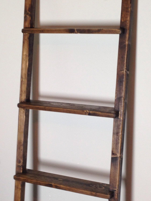 4ft rustic blanket ladder shelf 48 bookshelf by themiteredjoint. Black Bedroom Furniture Sets. Home Design Ideas