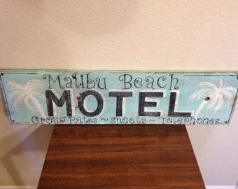 Hand Made Malibu Beach Motel Sign