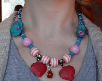 Necklace beads and flowers