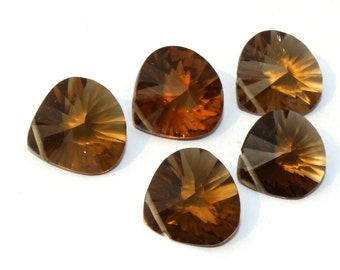 5 Pieces 2 Match Pair 1 Focal Piece 14x14 mm Beer Quartz Faceted Heart Briolettes, Earring Pair, Jewelry Making BR213