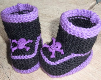 Baby Goth Booties, Punk Baby booties, Gothic Skull Booties, Pirate Booties, Baby Goth Knits, Knitted Gothic Clothes