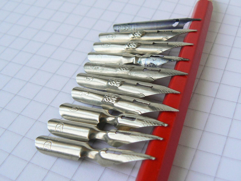 Set Of 10 Vintage Ink Pen Nibs Calligraphy Ink Pen Nibs