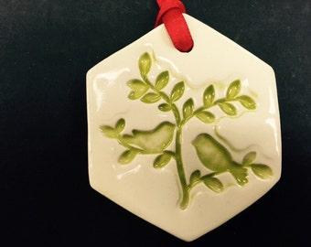 Ceramic Birds in Tree Ornament, Birds in Tree Ornament, Birds in Tree