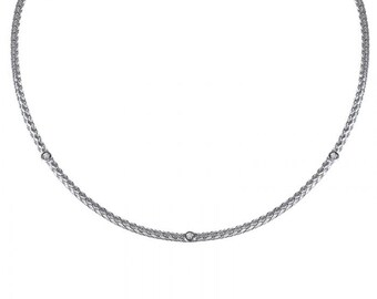 0.20 Carat Diamond Rope Chain 14K White Gold Necklace