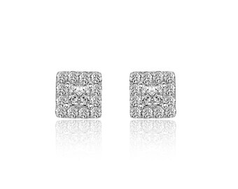 0.77 Carat Princess and Round Cut Diamond Stud Earrings 14K White Gold