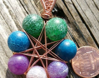 Dyed Agate 7-pointed Star Pendant