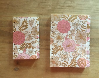 Personal 12 tab planner dividers in blush pink, gold and cream -  A5 / planner accessories / planner supplies / personal planner / pocket