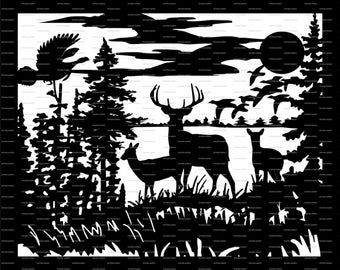 deers,turkey Cutting File Card svg,  Vector Digital ClipArt Wall Decor Decal Vinyl Cutting File