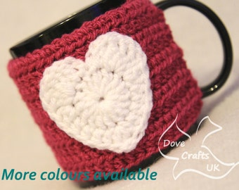 Heart Mug Cosy in Dark Pink (Cerise) with White Heart (Crochet Handmade)  / Cup Cozy Valentines gift