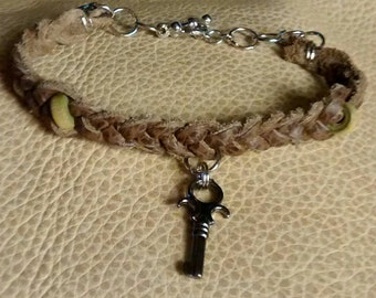 Hand Braided Leather Charm Bracelet