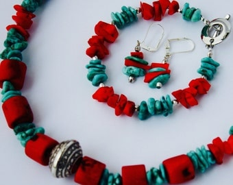 Red Coral And Turquoise Necklace, Bracelet, Earring Set