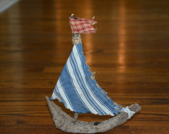 Handmade One of a Kind Driftwood & Vintage Fabric Sailboat