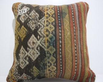 15x15 embroidered Turkish kilim pillow 15x15 striped kilim pillow couch pillow cushion cover decorative kilim pillows  SP4040-954