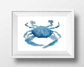 Maryland Blue Crab Watercolor Print