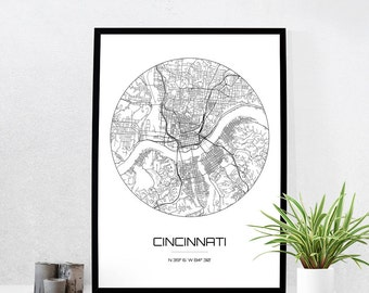 cincinnati map print city map art of cincinnati ohio poster coordinates wall art gift - Home Decor Cincinnati