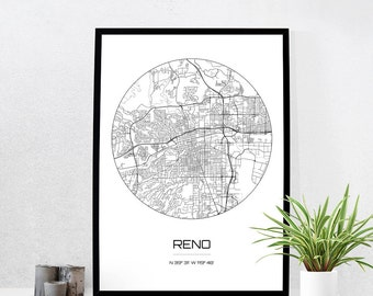 Reno Map Print - City Map Art of Reno Nevada Poster - Coordinates Wall Art Gift - Travel Map - Office Home Decor