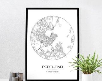 Portland Map Print - City Map Art of Portland Maine Poster - Coordinates Wall Art Gift - Travel Map - Office Home Decor