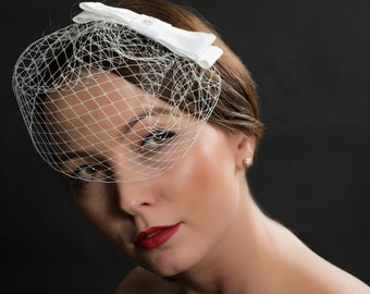 Birdcage veil, bridal birdcage, bridal millinery
