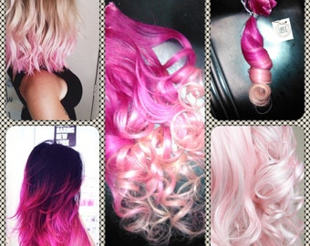 Hot pink to cotton candy ombre hair
