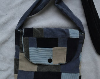 Handmade blue tan and grey patchwork purse