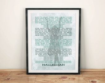 Leonard Cohen - Hallelujah - Lyrics - Digital Print - Instant Download
