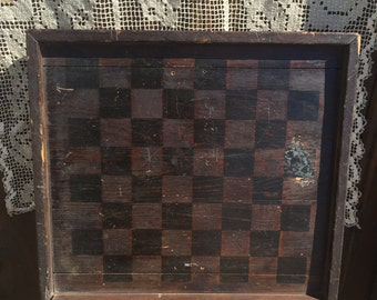 Antique Checkerboard with Checkers