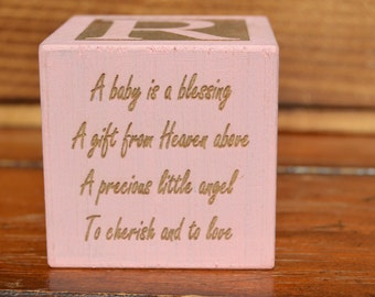 Personalized blocks for baby girl gift engraved block for personalized baby block new baby gift newborn baby gift personalized baby gift negle Images