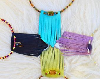 Faux leather fringe necklace