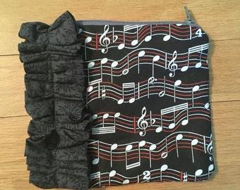 Music print ruffle purse pouch