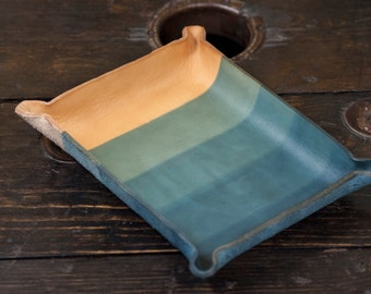 Indigo Dipped Leather Catchall Tray with 4 Layer Gradient Dip Pattern