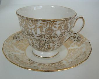 Vintage Ridgway Royal Vale Gold Floral Pattern Teacup Saucer Bone China England