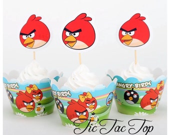 12pcs Angry Birds Cupcake Toppers + Wrappers. Party Supplies Decoration Tableware